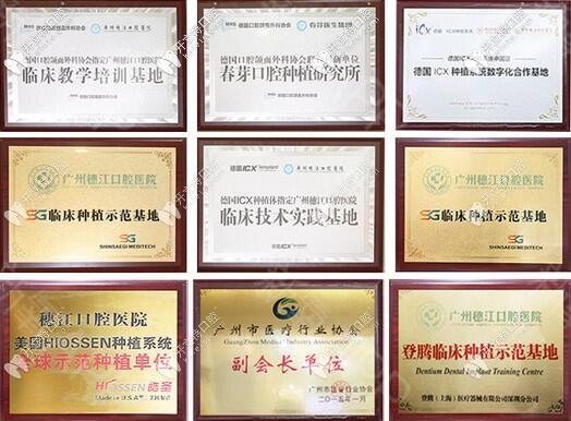 广州穗江口腔部分荣誉图