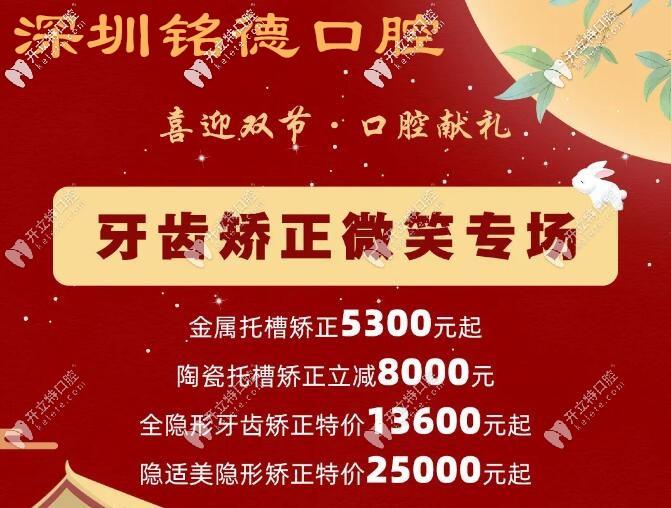 国庆:深圳龙岗区铭德口腔的隐适美IGO极速版牙套的价格才.