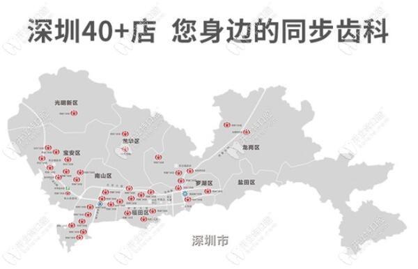 深圳同步齿科分店详细地址:含南山及福田区的40多家分院